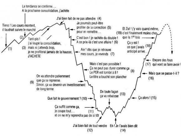 Courbe représentant l'évolution d'une action avec les commentaires de son propriétaire à chaque phase.