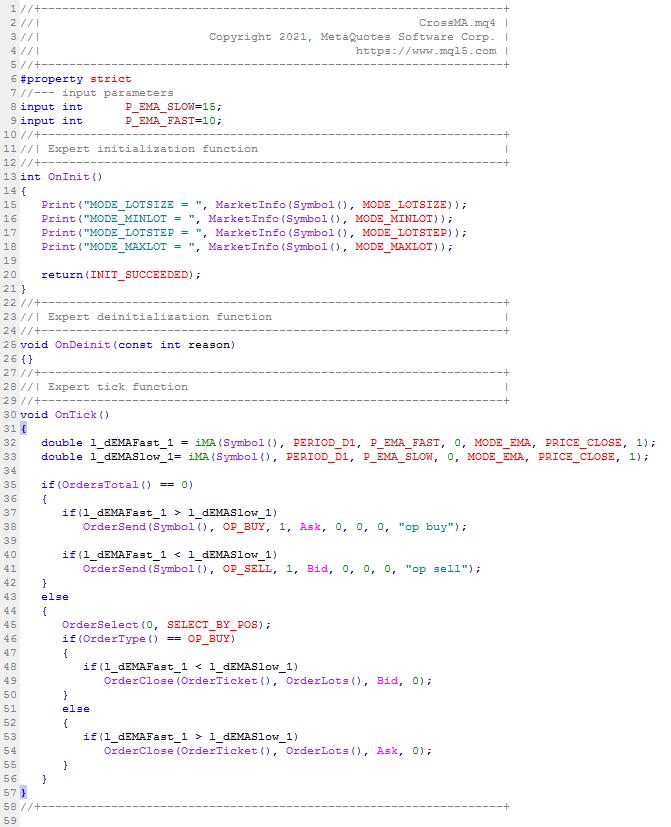 Programme en mql4 (MT4)